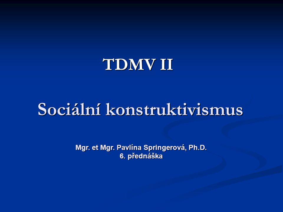 Sociální konstruktivismus TDMV II Mgr. et Mgr. Pavlína Springerová, Ph.D. 6. přednáška