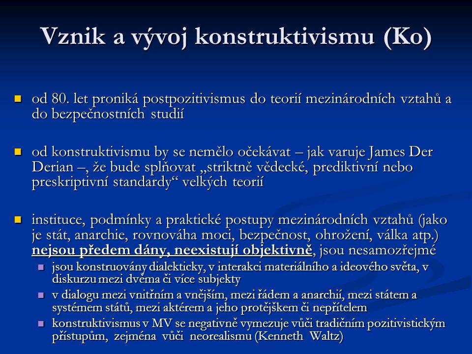 Vznik a vývoj konstruktivismu (Ko) od 80. let proniká postpozitivismus do teorií mezinárodních vztahů a do bezpečnostních studií od 80. let proniká po