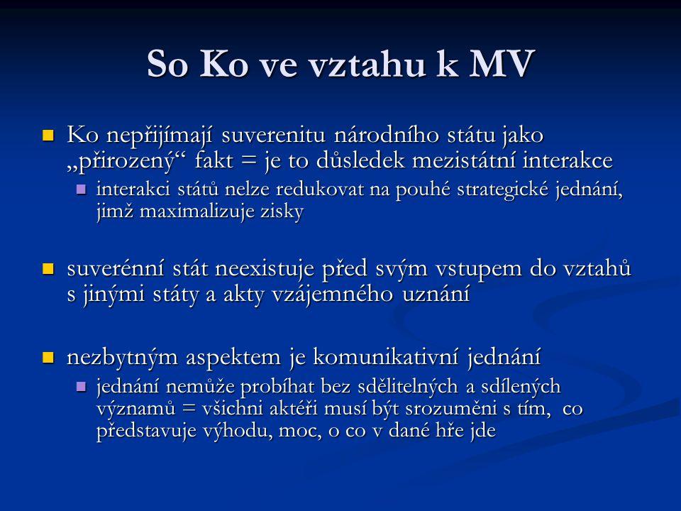 """So Ko ve vztahu k MV Ko nepřijímají suverenitu národního státu jako """"přirozený"""" fakt = je to důsledek mezistátní interakce Ko nepřijímají suverenitu n"""