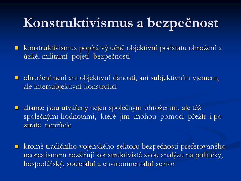 Konstruktivismus a bezpečnost konstruktivismus popírá výlučně objektivní podstatu ohrožení a úzké, militární pojetí bezpečnosti konstruktivismus popír