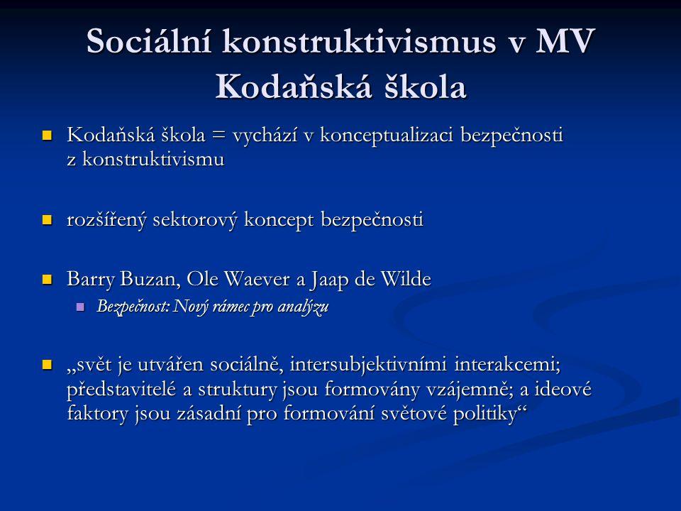 Sociální konstruktivismus v MV Kodaňská škola Kodaňská škola = vychází v konceptualizaci bezpečnosti z konstruktivismu Kodaňská škola = vychází v konc