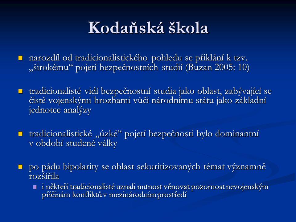 """Kodaňská škola narozdíl od tradicionalistického pohledu se přiklání k tzv. """"širokému"""" pojetí bezpečnostních studií (Buzan 2005: 10) narozdíl od tradic"""