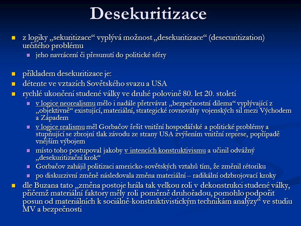 """Desekuritizace z logiky """"sekuritizace"""" vyplývá možnost """"desekuritizace"""" (desecuritization) určitého problému z logiky """"sekuritizace"""" vyplývá možnost """""""