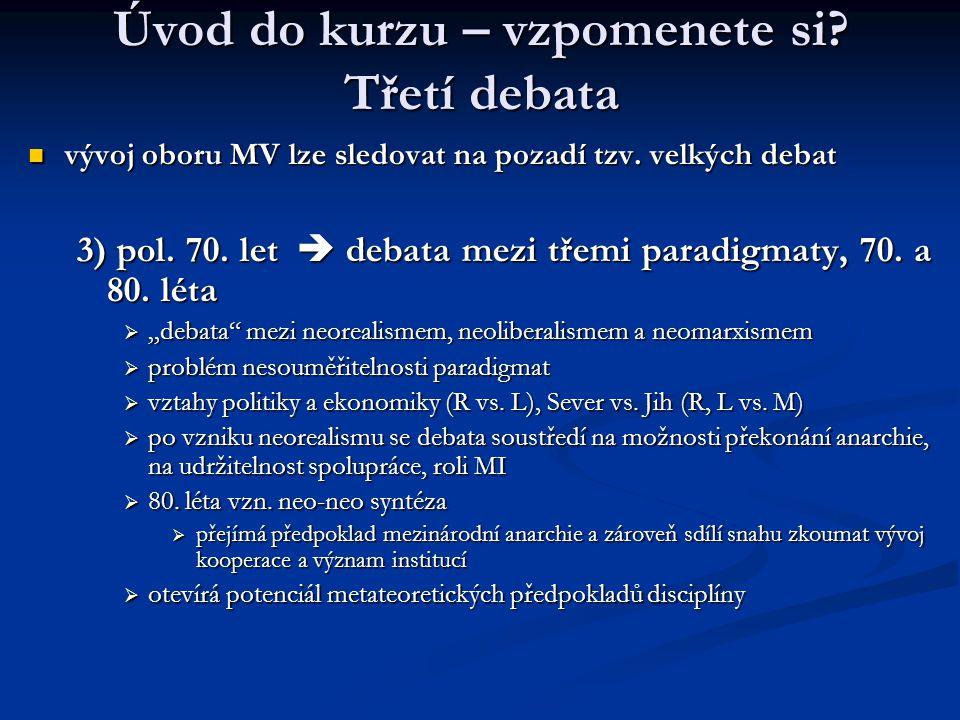Úvod do kurzu – vzpomenete si? Třetí debata vývoj oboru MV lze sledovat na pozadí tzv. velkých debat vývoj oboru MV lze sledovat na pozadí tzv. velkýc