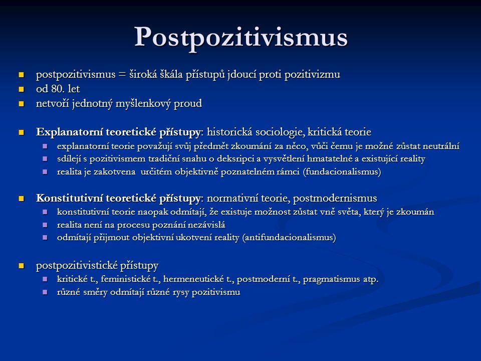 Postpozitivismus postpozitivismus = široká škála přístupů jdoucí proti pozitivizmu postpozitivismus = široká škála přístupů jdoucí proti pozitivizmu o