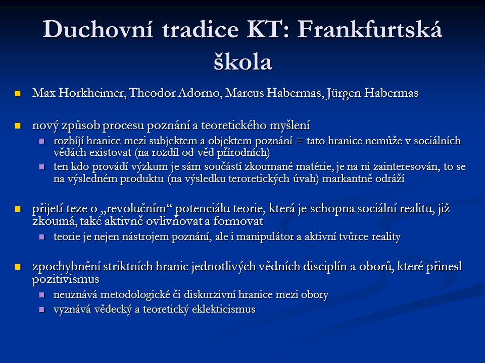 Duchovní tradice KT: Frankfurtská škola Max Horkheimer, Theodor Adorno, Marcus Habermas, Jürgen Habermas Max Horkheimer, Theodor Adorno, Marcus Haberm
