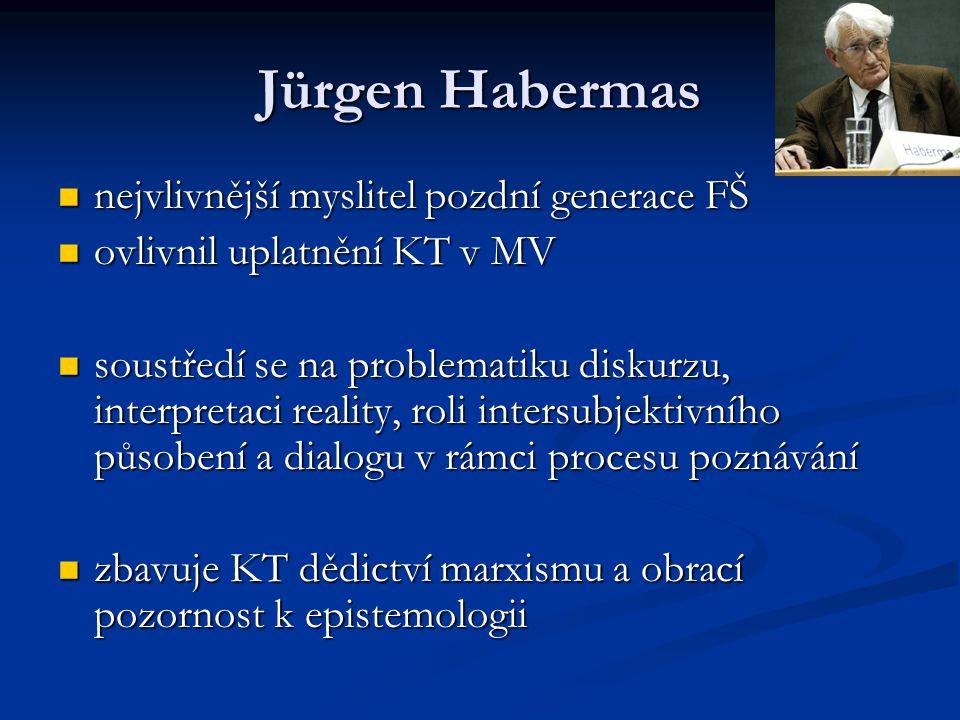 Jürgen Habermas nejvlivnější myslitel pozdní generace FŠ nejvlivnější myslitel pozdní generace FŠ ovlivnil uplatnění KT v MV ovlivnil uplatnění KT v M