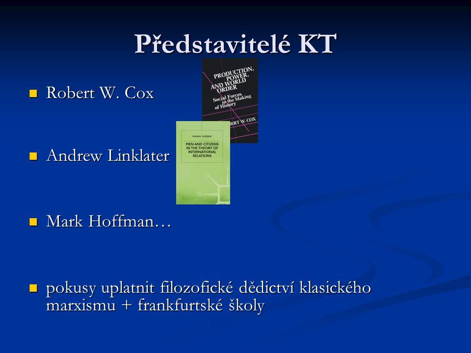 Představitelé KT Robert W. Cox Robert W. Cox Andrew Linklater Andrew Linklater Mark Hoffman… Mark Hoffman… pokusy uplatnit filozofické dědictví klasic