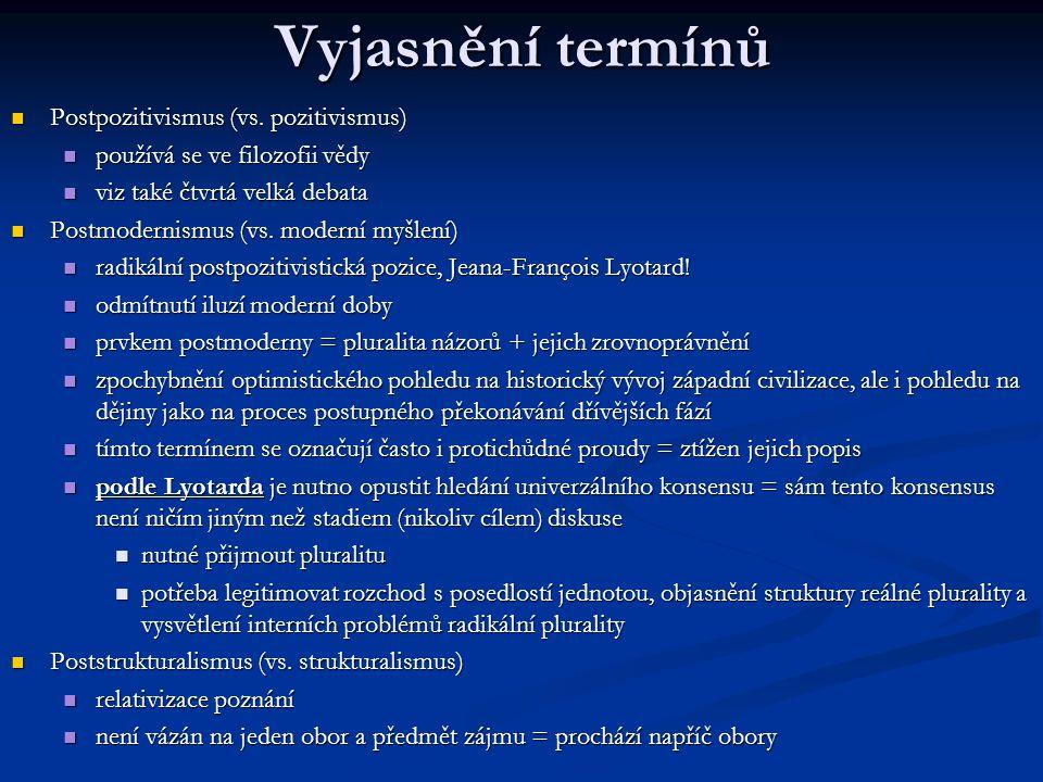 Vyjasnění termínů Postpozitivismus (vs. pozitivismus) Postpozitivismus (vs. pozitivismus) používá se ve filozofii vědy používá se ve filozofii vědy vi