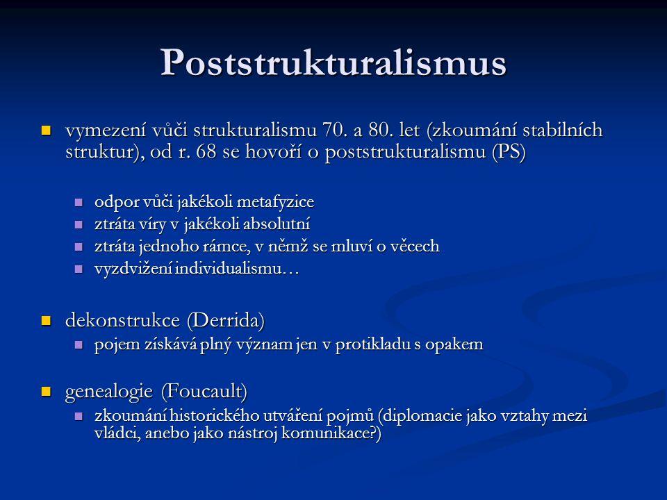 Poststrukturalismus vymezení vůči strukturalismu 70. a 80. let (zkoumání stabilních struktur), od r. 68 se hovoří o poststrukturalismu (PS) vymezení v