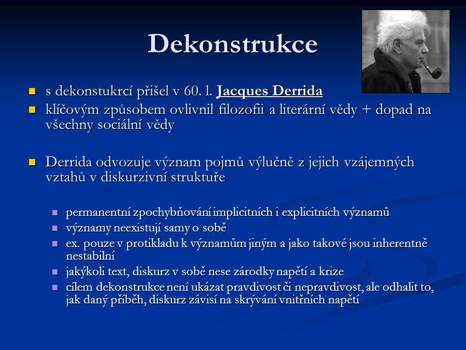 Dekonstrukce s dekonstukrcí přišel v 60. l. Jacques Derrida s dekonstukrcí přišel v 60. l. Jacques Derrida klíčovým způsobem ovlivnil filozofii a lite