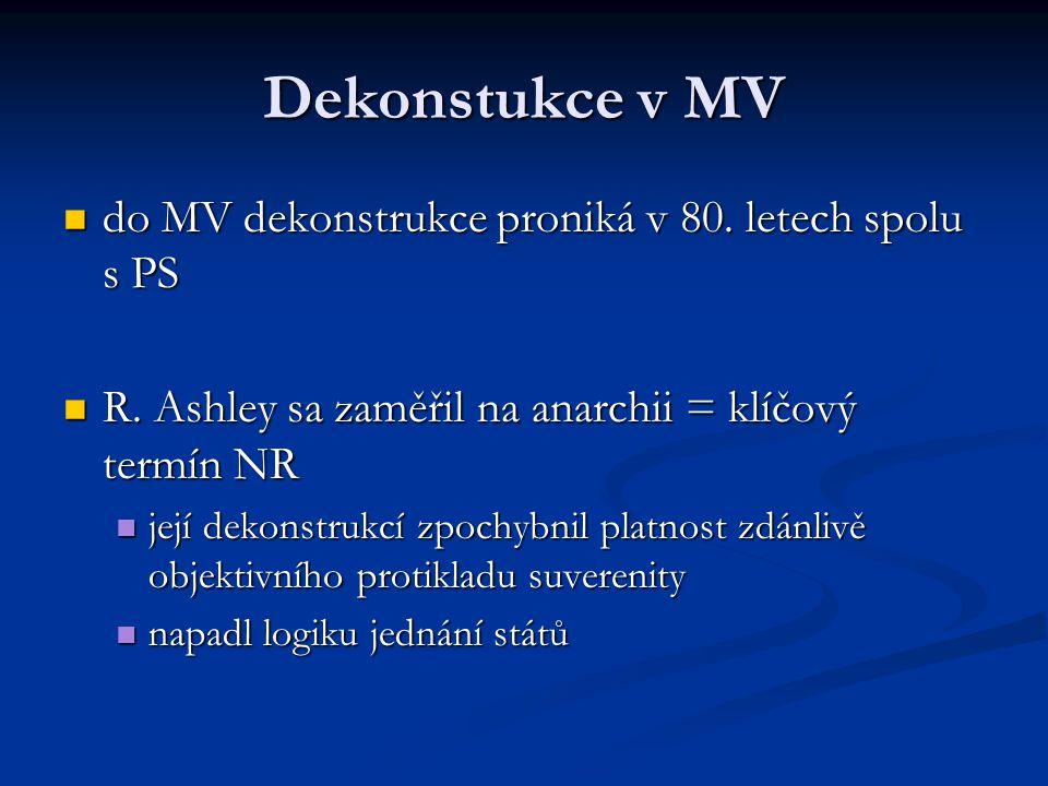 Dekonstukce v MV do MV dekonstrukce proniká v 80. letech spolu s PS do MV dekonstrukce proniká v 80. letech spolu s PS R. Ashley sa zaměřil na anarchi