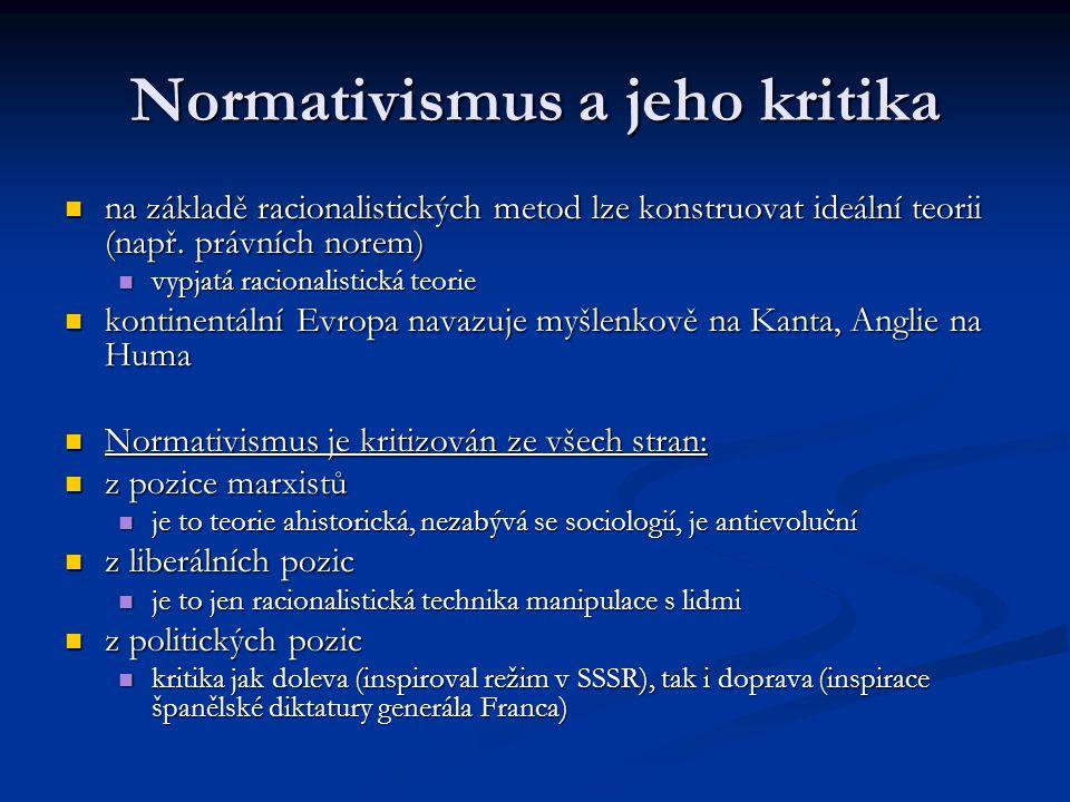 Normativismus a jeho kritika na základě racionalistických metod lze konstruovat ideální teorii (např. právních norem) na základě racionalistických met