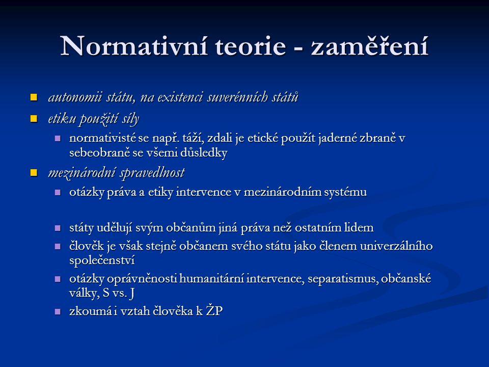 Normativní teorie - zaměření autonomii státu, na existenci suverénních států autonomii státu, na existenci suverénních států etiku použití síly etiku
