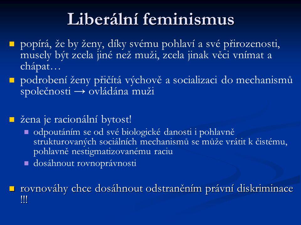 Liberální feminismus popírá, že by ženy, díky svému pohlaví a své přirozenosti, musely být zcela jiné než muži, zcela jinak věci vnímat a chápat… podr