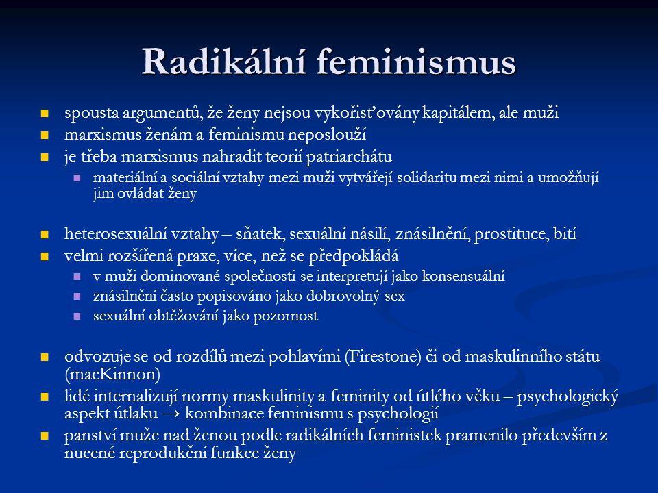 Radikální feminismus spousta argumentů, že ženy nejsou vykořisťovány kapitálem, ale muži marxismus ženám a feminismu neposlouží je třeba marxismus nah