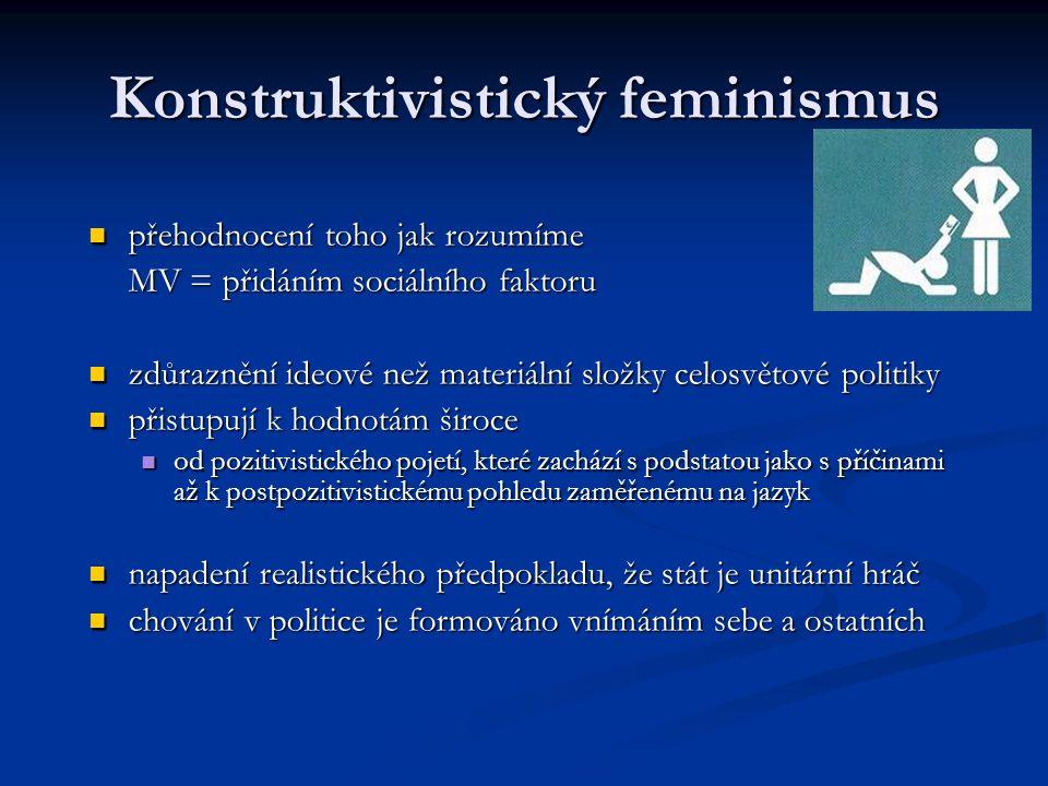 Konstruktivistický feminismus přehodnocení toho jak rozumíme přehodnocení toho jak rozumíme MV = přidáním sociálního faktoru zdůraznění ideové než mat