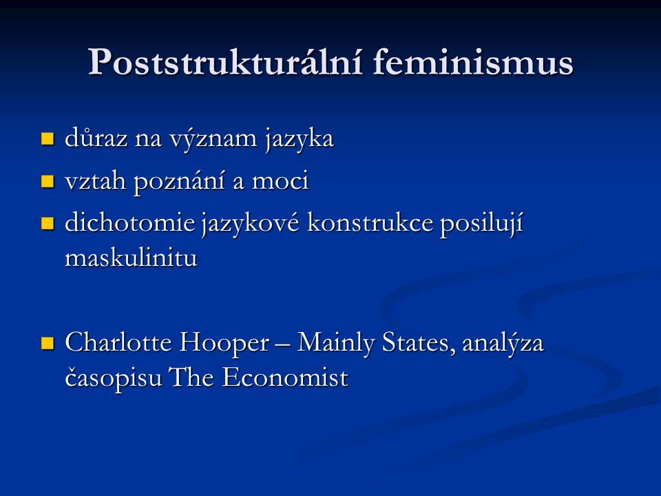 Poststrukturální feminismus důraz na význam jazyka důraz na význam jazyka vztah poznání a moci vztah poznání a moci dichotomie jazykové konstrukce pos