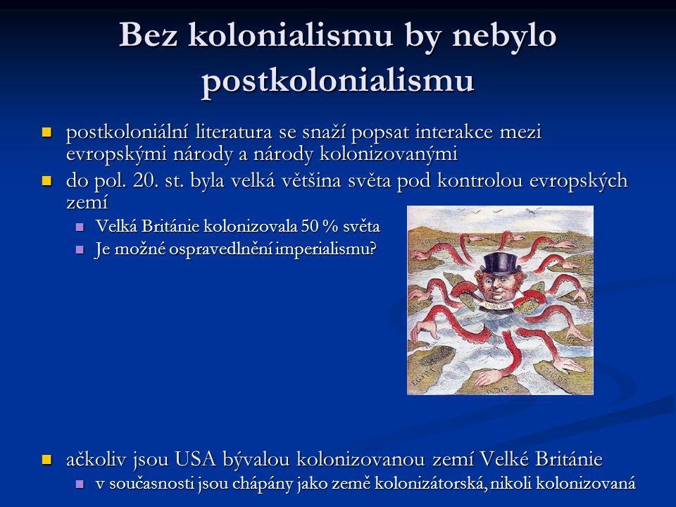 Bez kolonialismu by nebylo postkolonialismu postkoloniální literatura se snaží popsat interakce mezi evropskými národy a národy kolonizovanými postkol