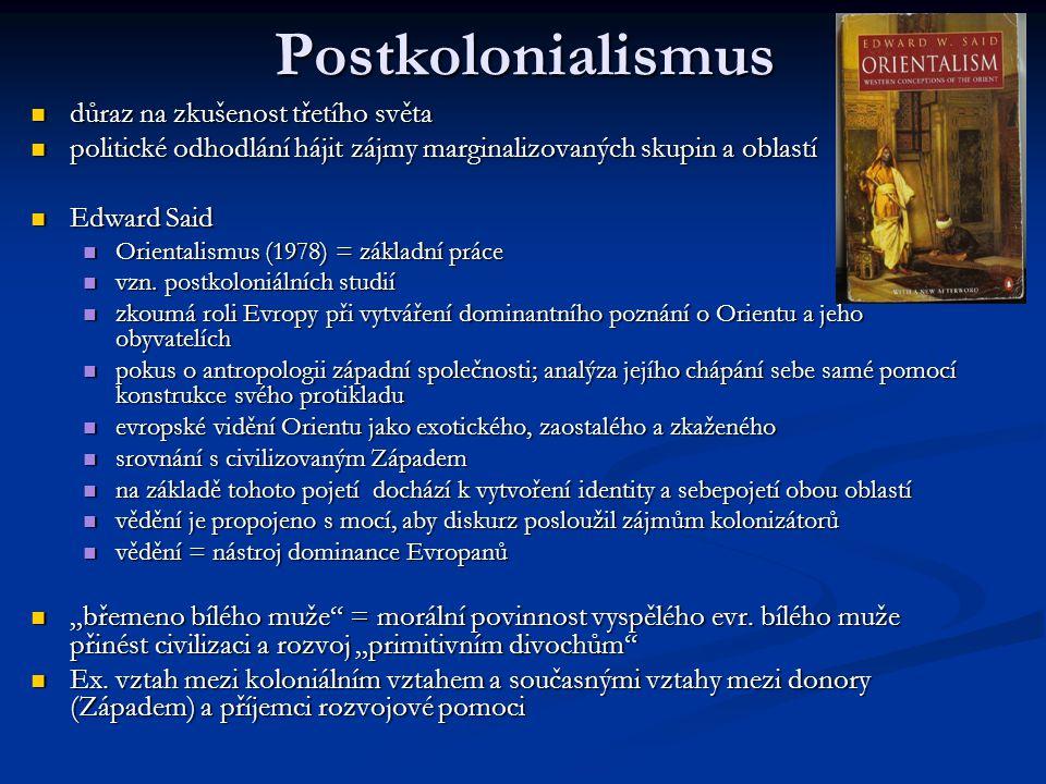 Postkolonialismus důraz na zkušenost třetího světa důraz na zkušenost třetího světa politické odhodlání hájit zájmy marginalizovaných skupin a oblastí