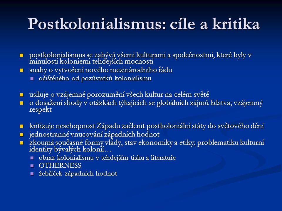 postkolonialismus se zabývá všemi kulturami a společnostmi, které byly v minulosti koloniemi tehdejších mocností postkolonialismus se zabývá všemi kul