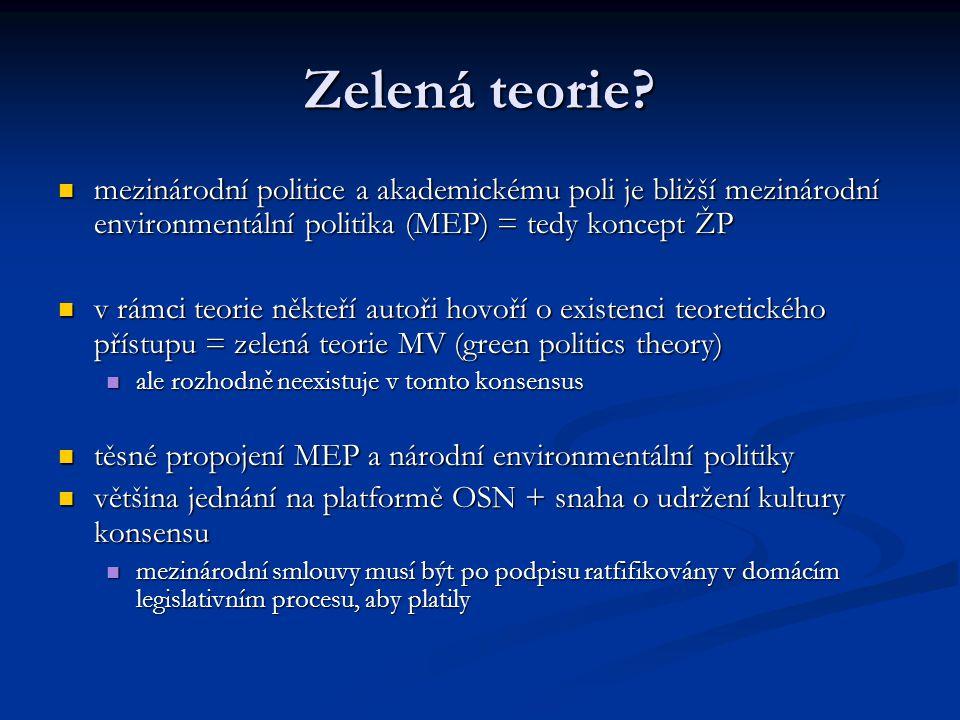 Zelená teorie? mezinárodní politice a akademickému poli je bližší mezinárodní environmentální politika (MEP) = tedy koncept ŽP mezinárodní politice a