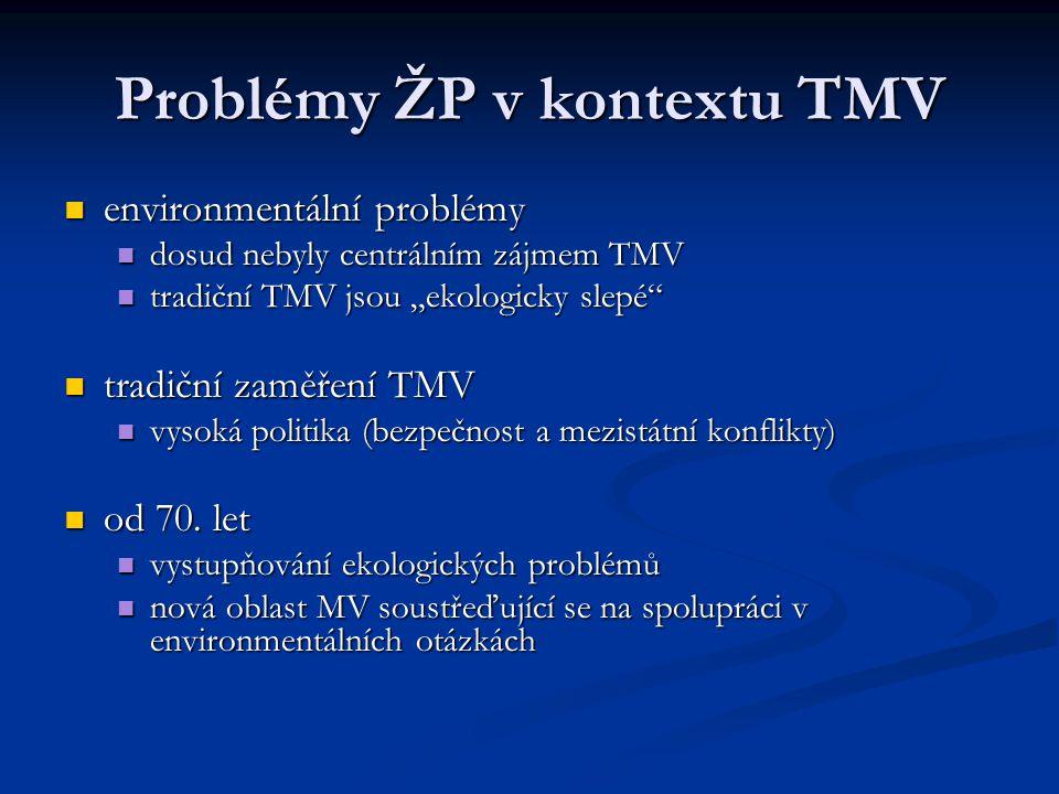 Problémy ŽP v kontextu TMV environmentální problémy environmentální problémy dosud nebyly centrálním zájmem TMV dosud nebyly centrálním zájmem TMV tra