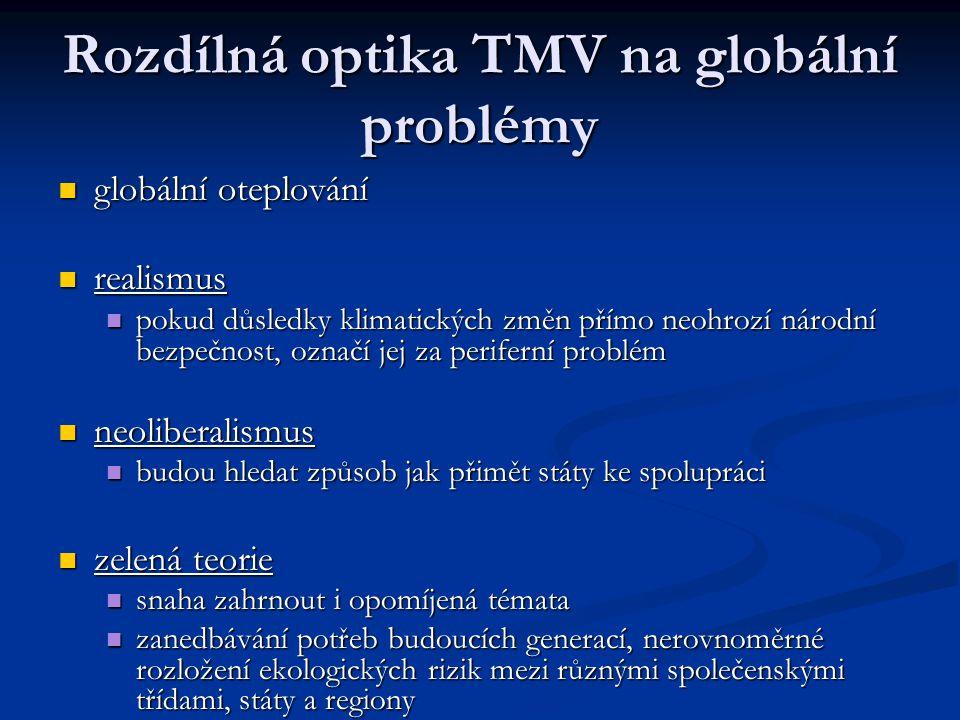Rozdílná optika TMV na globální problémy globální oteplování globální oteplování realismus realismus pokud důsledky klimatických změn přímo neohrozí n