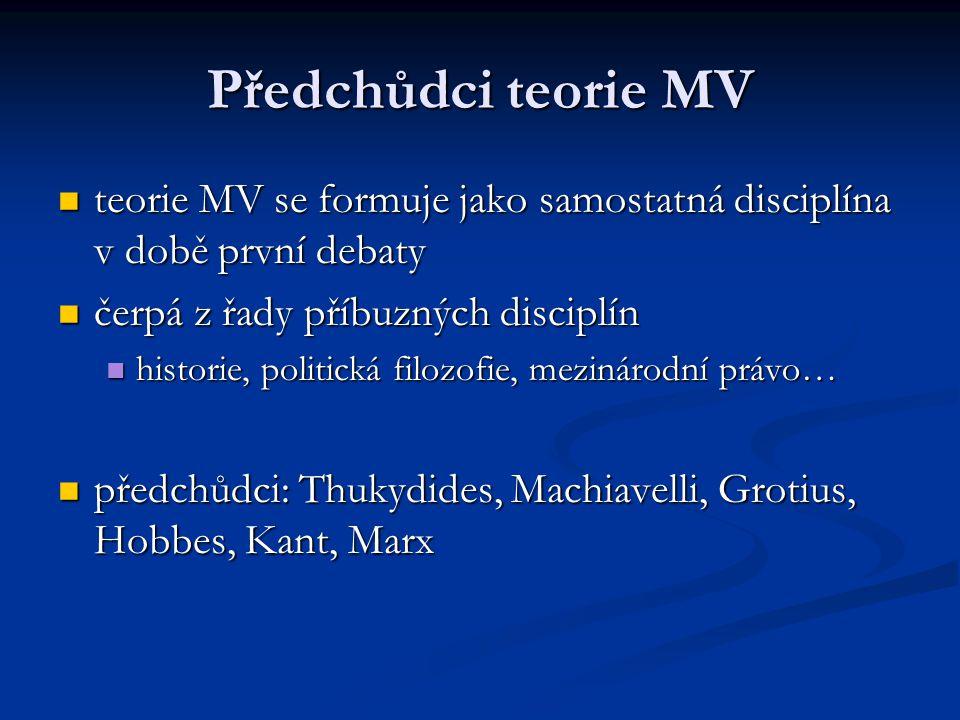 Předchůdci teorie MV teorie MV se formuje jako samostatná disciplína v době první debaty teorie MV se formuje jako samostatná disciplína v době první