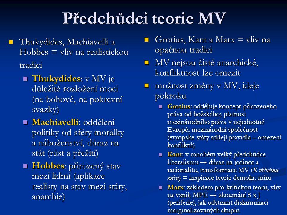Předchůdci teorie MV Thukydides, Machiavelli a Hobbes = vliv na realistickou tradici Thukydides, Machiavelli a Hobbes = vliv na realistickou tradici T