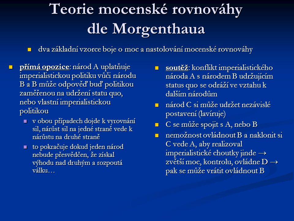 Teorie mocenské rovnováhy dle Morgenthaua dva základní vzorce boje o moc a nastolování mocenské rovnováhy dva základní vzorce boje o moc a nastolování