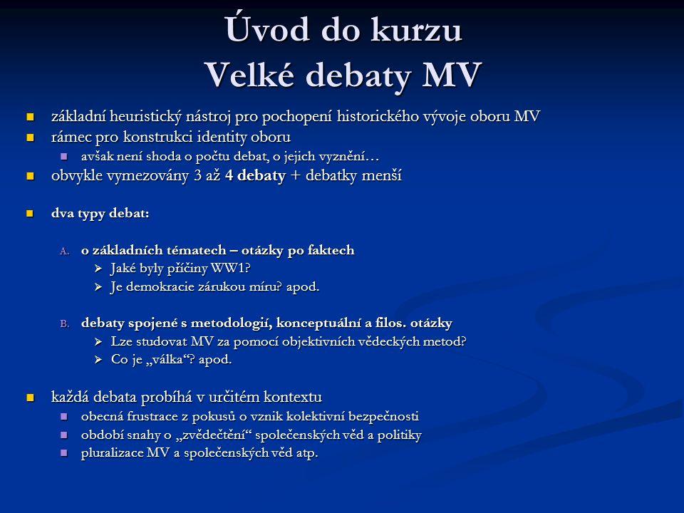 Úvod do kurzu Velké debaty MV základní heuristický nástroj pro pochopení historického vývoje oboru MV základní heuristický nástroj pro pochopení histo