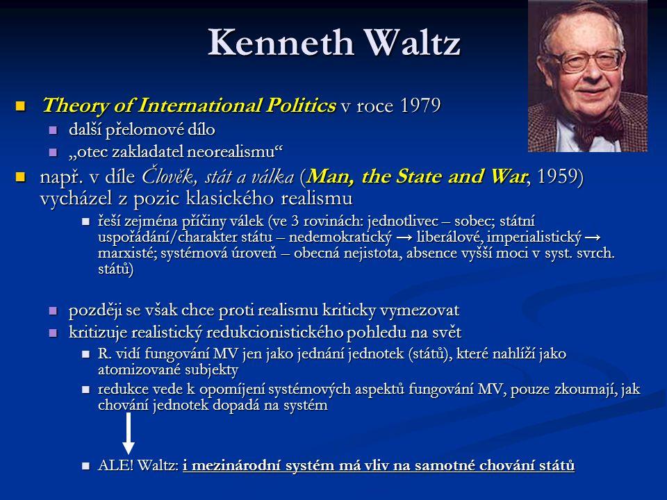 """Kenneth Waltz Theory of International Politics v roce 1979 Theory of International Politics v roce 1979 další přelomové dílo další přelomové dílo """"ote"""