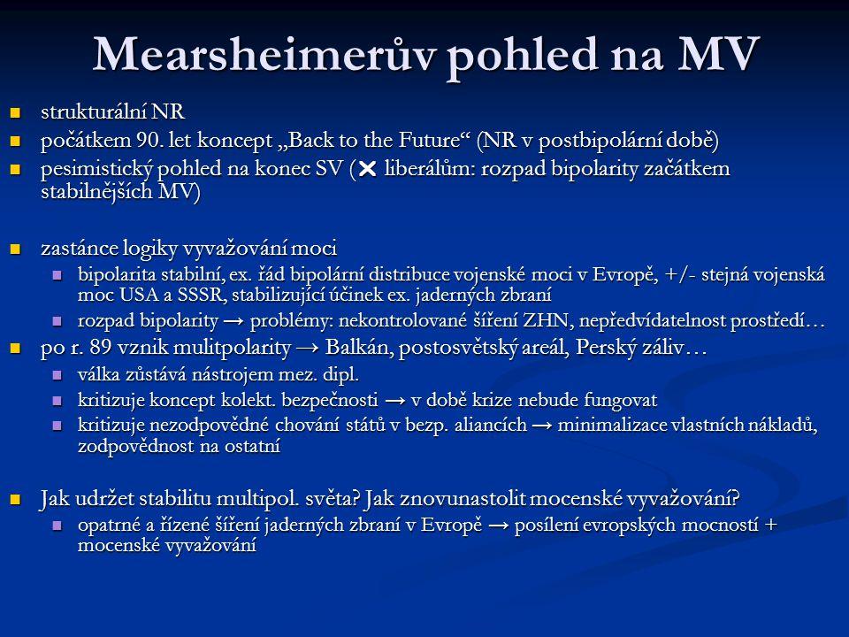 """Mearsheimerův pohled na MV strukturální NR strukturální NR počátkem 90. let koncept """"Back to the Future"""" (NR v postbipolární době) počátkem 90. let ko"""