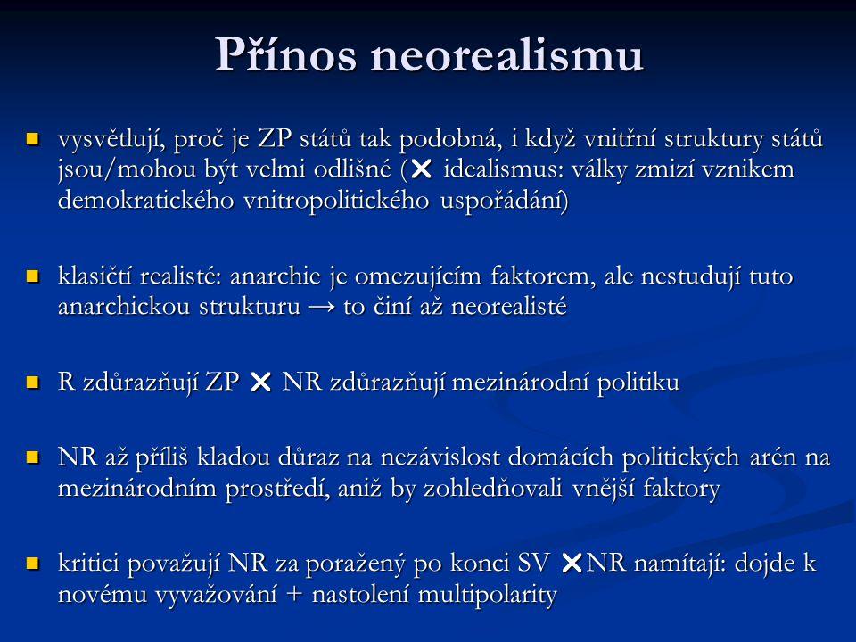 Přínos neorealismu vysvětlují, proč je ZP států tak podobná, i když vnitřní struktury států jsou/mohou být velmi odlišné (  idealismus: války zmizí v