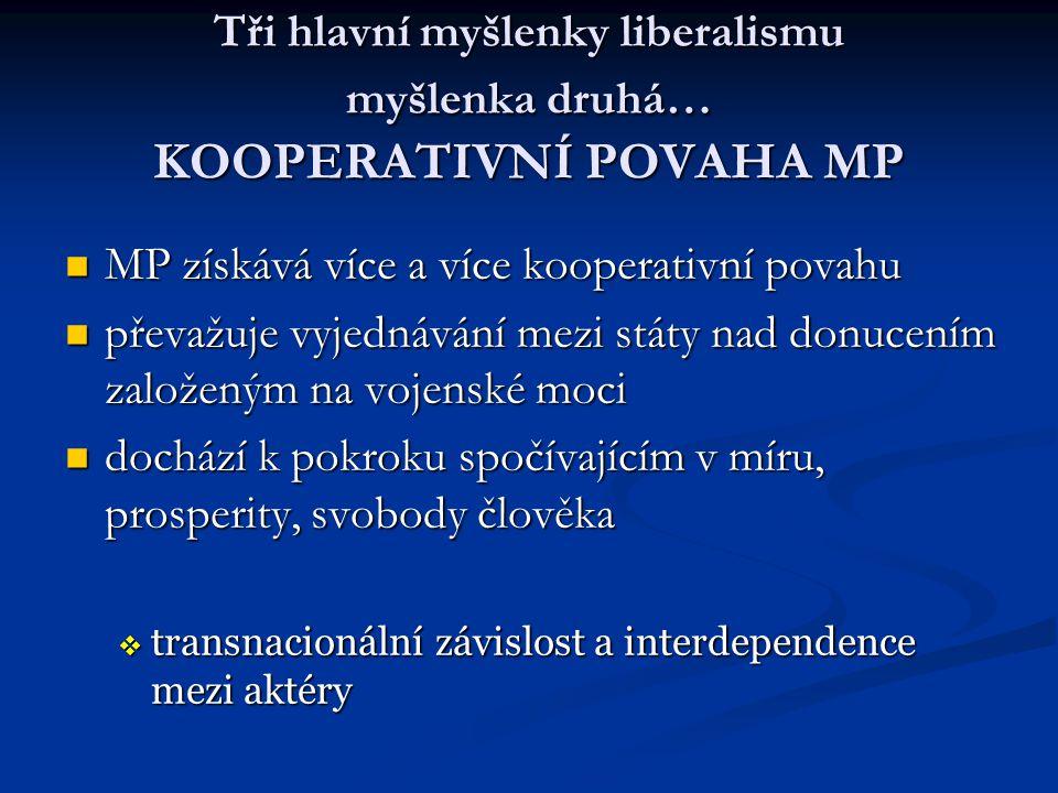 Tři hlavní myšlenky liberalismu myšlenka druhá… KOOPERATIVNÍ POVAHA MP MP získává více a více kooperativní povahu MP získává více a více kooperativní