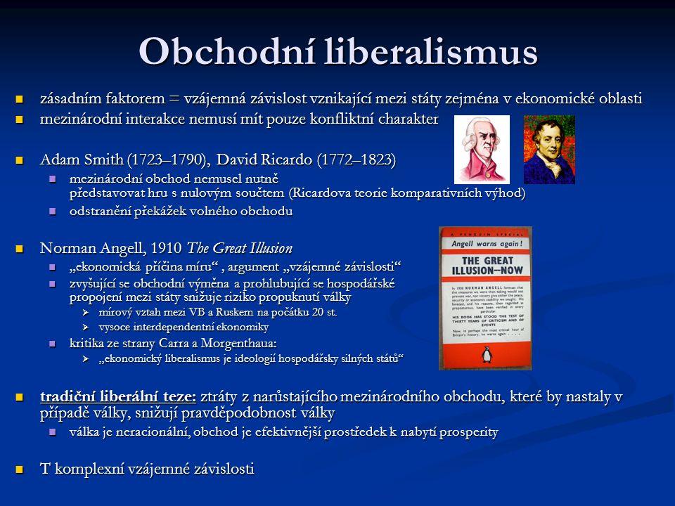 Obchodní liberalismus zásadním faktorem = vzájemná závislost vznikající mezi státy zejména v ekonomické oblasti zásadním faktorem = vzájemná závislost