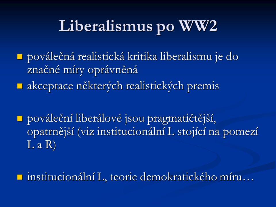 Liberalismus po WW2 poválečná realistická kritika liberalismu je do značné míry oprávněná poválečná realistická kritika liberalismu je do značné míry