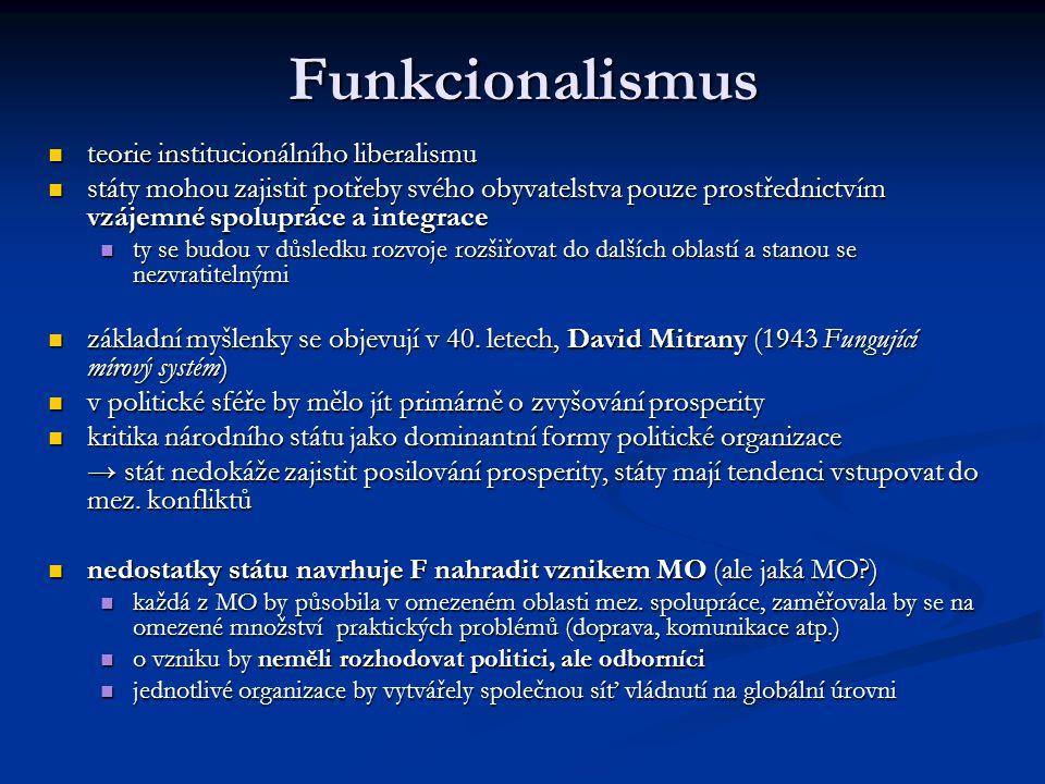 Funkcionalismus teorie institucionálního liberalismu teorie institucionálního liberalismu státy mohou zajistit potřeby svého obyvatelstva pouze prostř