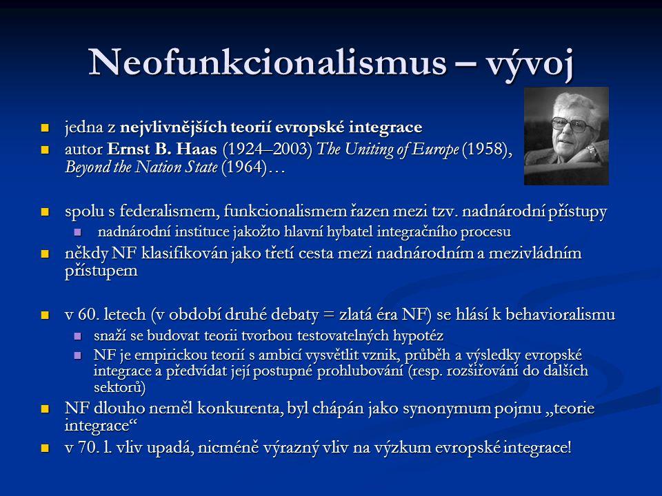 Neofunkcionalismus – vývoj jedna z nejvlivnějších teorií evropské integrace jedna z nejvlivnějších teorií evropské integrace autor Ernst B. Haas (1924