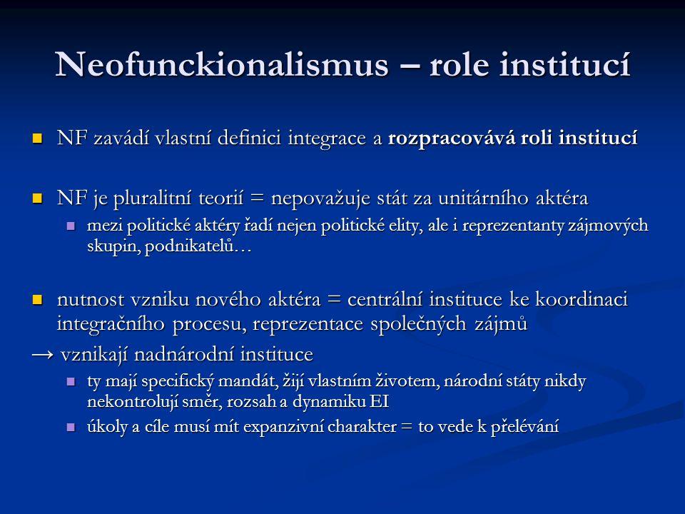 Neofunckionalismus – role institucí NF zavádí vlastní definici integrace a rozpracovává roli institucí NF zavádí vlastní definici integrace a rozpraco