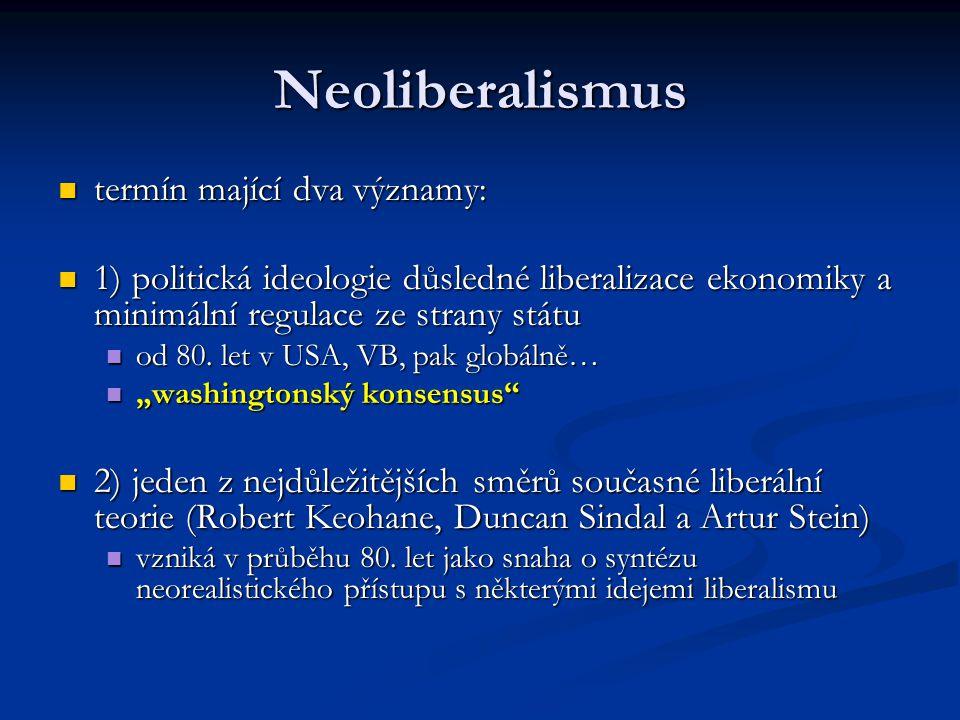 Neoliberalismus termín mající dva významy: termín mající dva významy: 1) politická ideologie důsledné liberalizace ekonomiky a minimální regulace ze s