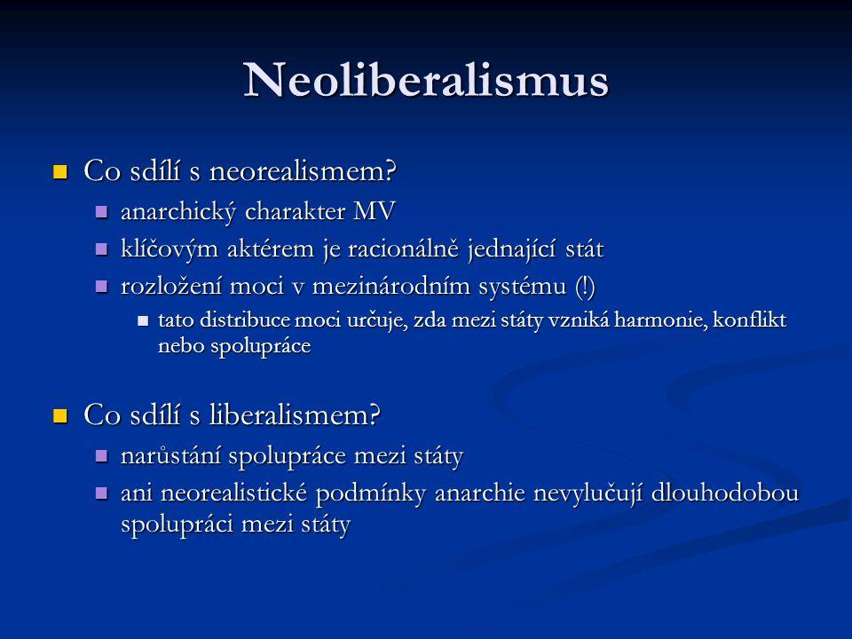 Neoliberalismus Co sdílí s neorealismem? Co sdílí s neorealismem? anarchický charakter MV anarchický charakter MV klíčovým aktérem je racionálně jedna