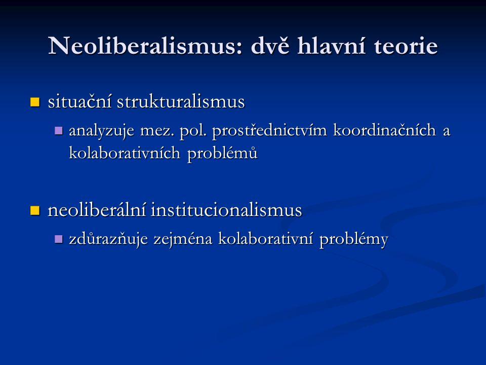Neoliberalismus: dvě hlavní teorie situační strukturalismus situační strukturalismus analyzuje mez. pol. prostřednictvím koordinačních a kolaborativní