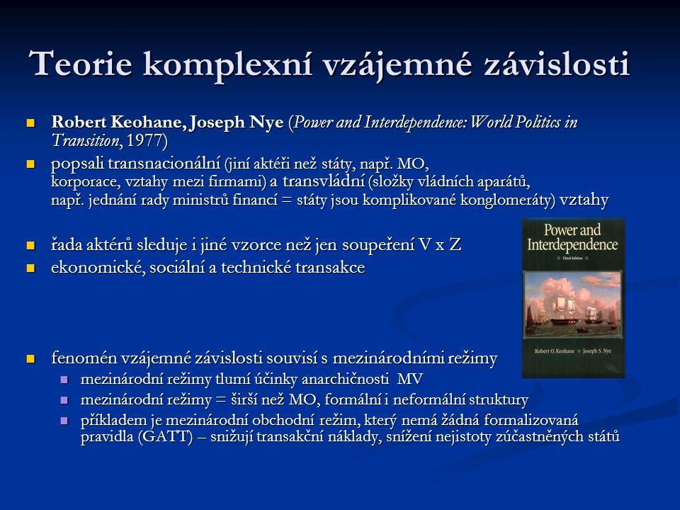 Teorie komplexní vzájemné závislosti Robert Keohane, Joseph Nye (Power and Interdependence: World Politics in Transition, 1977) Robert Keohane, Joseph