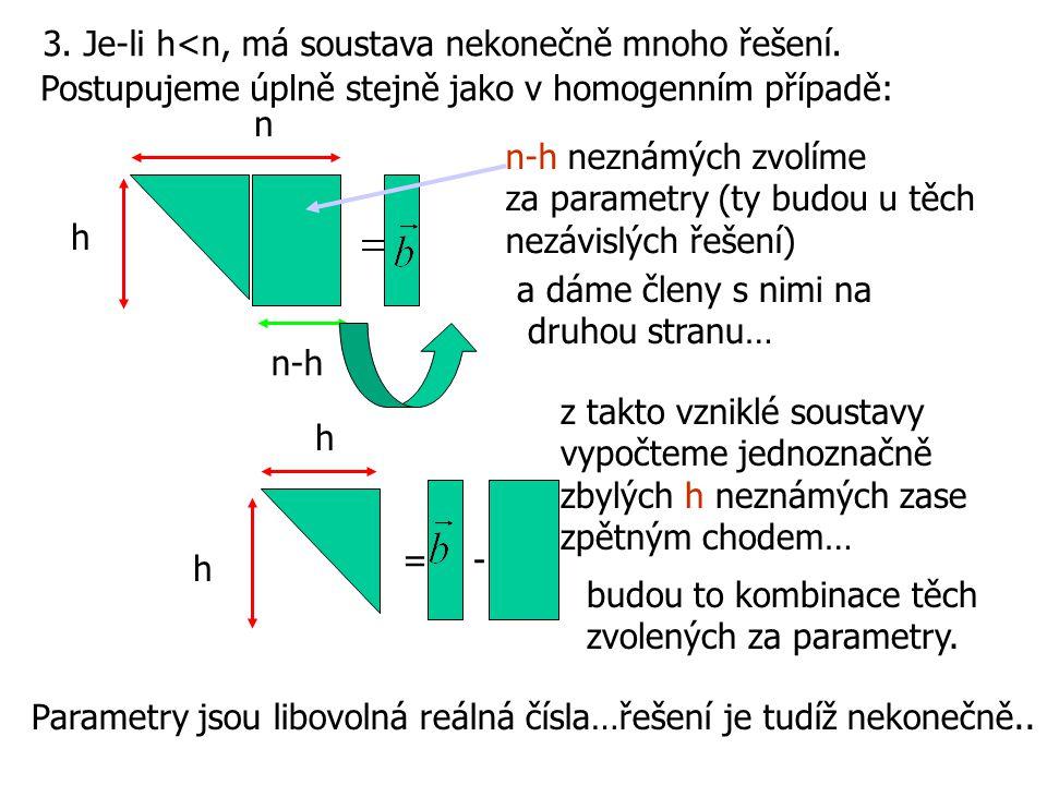 3. Je-li h<n, má soustava nekonečně mnoho řešení. Postupujeme úplně stejně jako v homogenním případě: h n n-h n-h neznámých zvolíme za parametry (ty b
