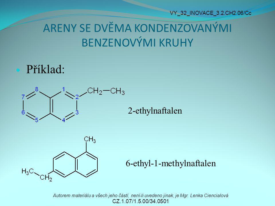 ARENY SE DVĚMA KONDENZOVANÝMI BENZENOVÝMI KRUHY Příklad: 2-ethylnaftalen 6-ethyl-1-methylnaftalen Autorem materiálu a všech jeho částí, není-li uveden