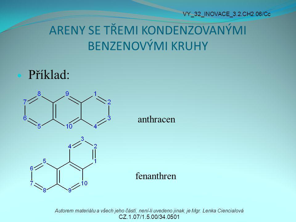 ARENY SE TŘEMI KONDENZOVANÝMI BENZENOVÝMI KRUHY Příklad: anthracen fenanthren Autorem materiálu a všech jeho částí, není-li uvedeno jinak, je Mgr. Len