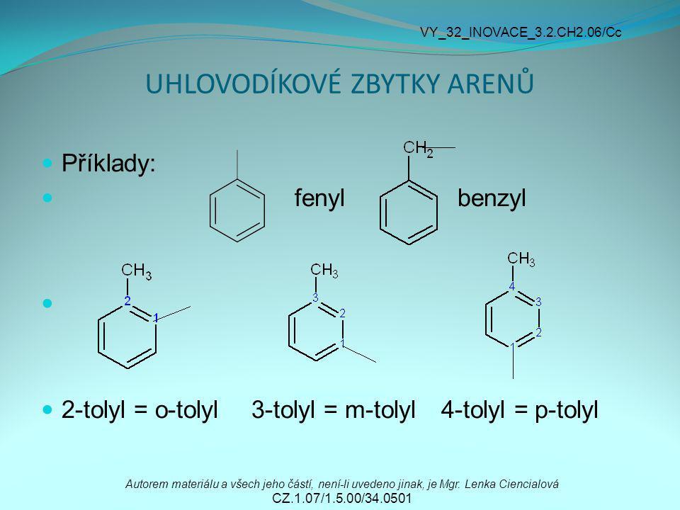 UHLOVODÍKOVÉ ZBYTKY ARENŮ Příklady: fenyl benzyl 2-tolyl = o-tolyl 3-tolyl = m-tolyl 4-tolyl = p-tolyl Autorem materiálu a všech jeho částí, není-li u