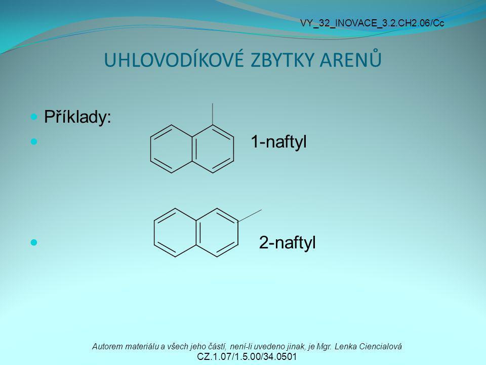 UHLOVODÍKOVÉ ZBYTKY ARENŮ Příklady: 1-naftyl 2-naftyl Autorem materiálu a všech jeho částí, není-li uvedeno jinak, je Mgr. Lenka Ciencialová CZ.1.07/1